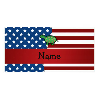 Personalized name Patriotic turtle Photo Card