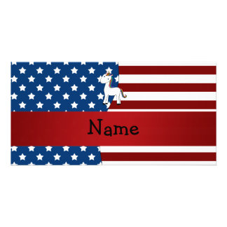 Personalized name Patriotic unicorn Picture Card