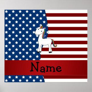 Personalized name Patriotic unicorn Poster
