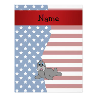 Personalized name Patriotic walrus Full Color Flyer
