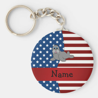 Personalized name Patriotic walrus Key Ring