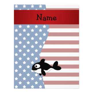 Personalized name Patriotic whale 21.5 Cm X 28 Cm Flyer