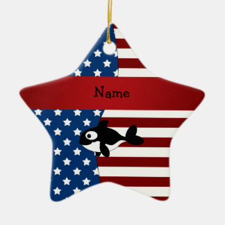 Personalized name Patriotic whale Christmas Ornament