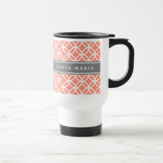 Personalized Name Peach Modern Circles Pattern Stainless Steel Travel Mug