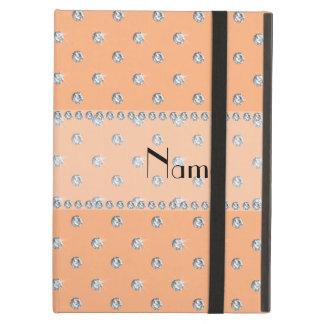 Personalized name peach orange diamonds iPad cases