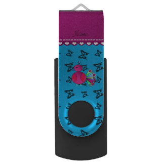Personalized name peacock blue butterflies swivel USB 2.0 flash drive
