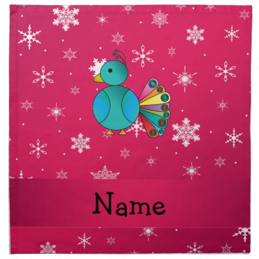 Personalized name peacock pink snowflakes cloth napkins