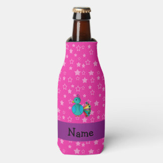 Personalized name peacock pink stars bottle cooler