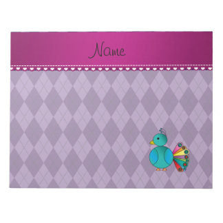Personalized name peacock purple argyle notepad