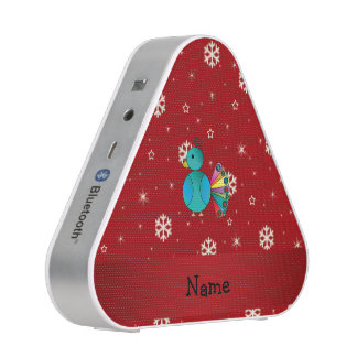 Personalized name peacock red snowflakes bluetooth speaker