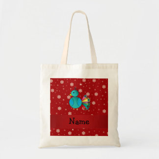 Personalized name peacock red snowflakes tote bag
