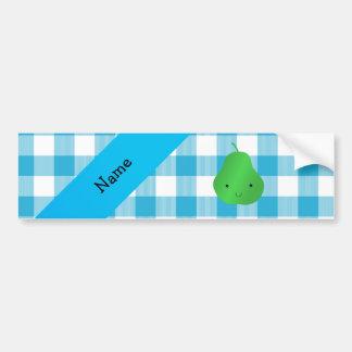 Personalized name pear blue checkers bumper sticker