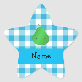 Personalized name pear blue checkers star sticker