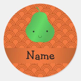 Personalized name pear orange half circles round sticker