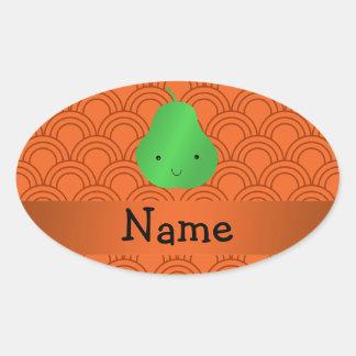 Personalized name pear orange half circles oval sticker