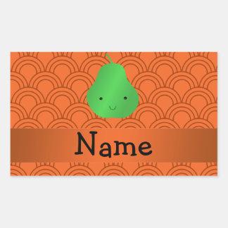 Personalized name pear orange half circles rectangular sticker