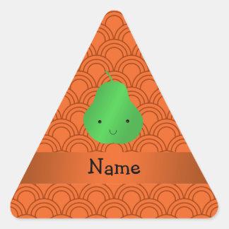 Personalized name pear orange half circles triangle sticker