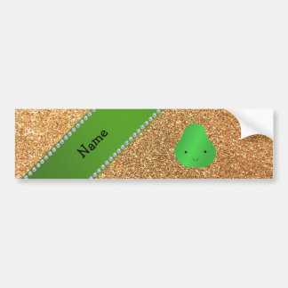 Personalized name pear pastel yellow glitter bumper sticker
