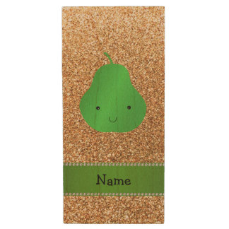 Personalized name pear pastel yellow glitter wood USB 2.0 flash drive