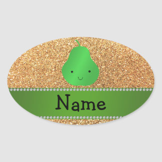 Personalized name pear pastel yellow glitter oval sticker
