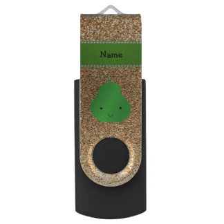 Personalized name pear pastel yellow glitter swivel USB 2.0 flash drive