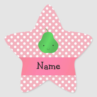 Personalized name pear pink polka dots star sticker