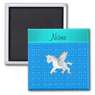 Personalized name pegasus blue greek key fridge magnet