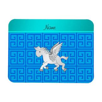 Personalized name pegasus blue greek key rectangular magnet