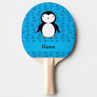Personalized name penguin blue anchors pattern Ping-Pong paddle