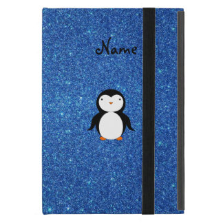 Personalized name penguin blue glitter case for iPad mini