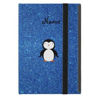 Personalized name penguin blue glitter case for iPad mini