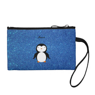 Personalized name penguin blue glitter coin wallets