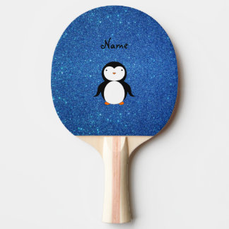 Personalized name penguin blue glitter ping pong paddle