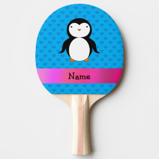 Personalized name penguin blue hearts Ping-Pong paddle