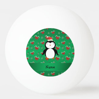 Personalized name penguin green candy canes bows Ping-Pong ball