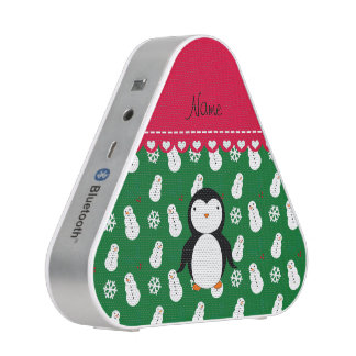 Personalized name penguin green snowmen snowflakes bluetooth speaker