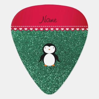 Personalized name penguin mint green glitter plectrum