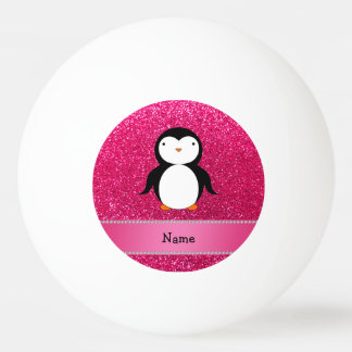 Personalized name penguin pink glitter Ping-Pong ball