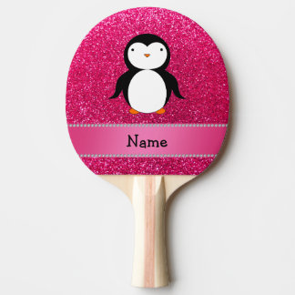 Personalized name penguin pink glitter Ping-Pong paddle