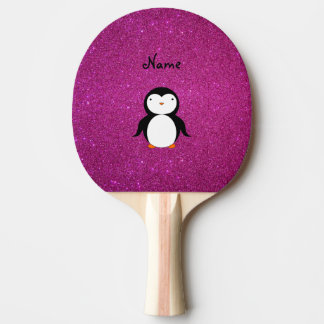 Personalized name penguin pink glitter ping pong paddle