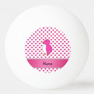 Personalized name penguin pink hearts polka dots Ping-Pong ball