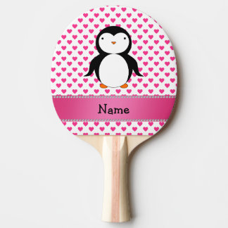 Personalized name penguin pink hearts polka dots ping pong paddle