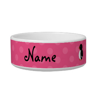 Personalized name penguin pink polka dots bowl