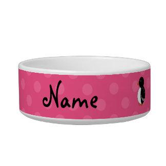 Personalized name penguin pink polka dots pet food bowl