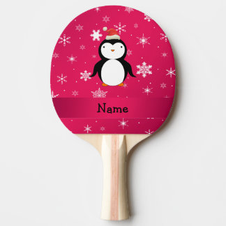 Personalized name penguin pink snowflakes ping pong paddle
