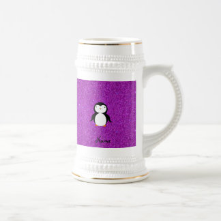 Personalized name penguin purple glitter beer stein