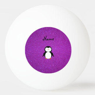 Personalized name penguin purple glitter ping pong ball