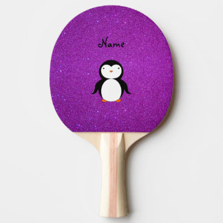 Personalized name penguin purple glitter ping pong paddle