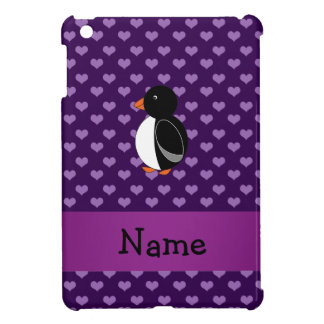 Personalized name penguin purple hearts iPad mini covers