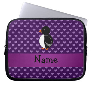 Personalized name penguin purple hearts laptop sleeve